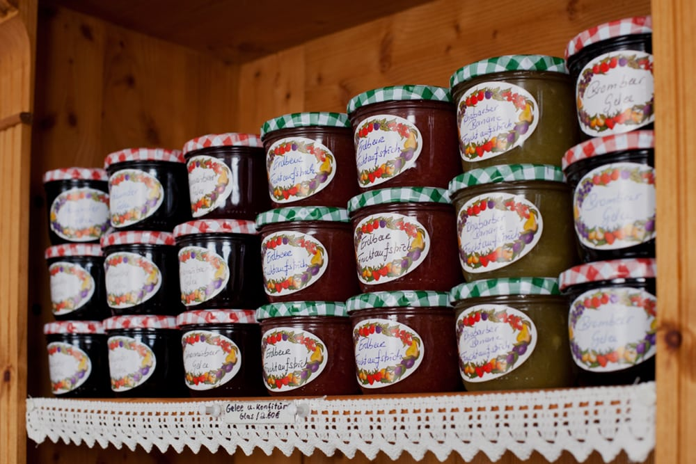 Shelf stocked with Homemade Jam