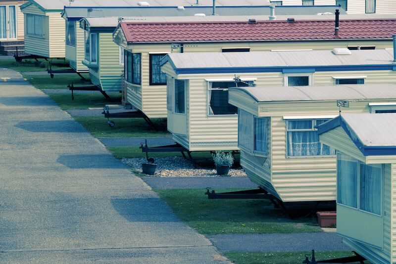 row of mobile homes; insuring your mobile home