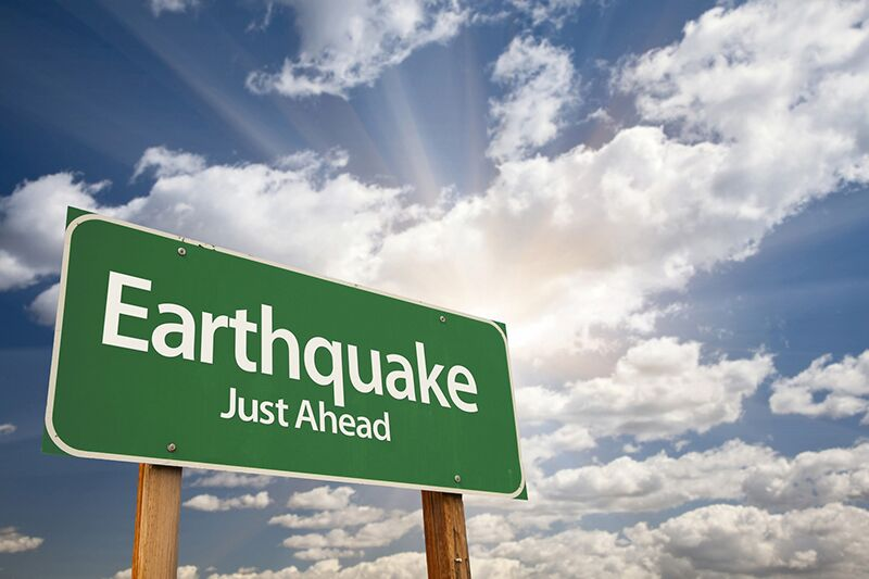 sign warning about earthquake, earthquake insurance